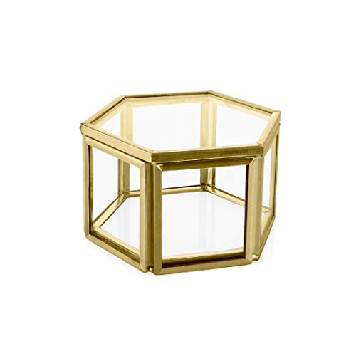 Koyal Wholesale Modern Gold Geometric Hexagon Glass Ring Box, 3 x 1.55 Inch Terrarium for Proposal, Engagement, Wedding Ceremony, Ring Bearer, Gift, Keepsake, Jewelry Organizer Holder Display Case