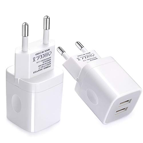 - European Wall Charger, Vifigen 2-Pack USB 2.1AMP Universal Europe Charger Block Dual Port Plug Compatible for iPhone X/8/7/7 Plus 6/6 Plus 5S 5 4S Samsung S5 S4 S3, Note 5, HTC, LG and More Device