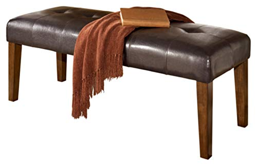 Drawer 2 Bench Leather - Ashley Furniture Signature Design - Lacey Large Dining Room Bench - Upholstered - Contemporary - Medium Brown