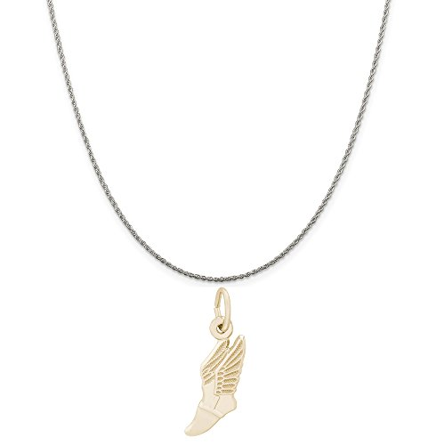 Rembrandt Charms Two-Tone Sterling Silver Winged Shoe Charm on a Sterling Silver Rope Chain Necklace, 16