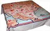 Redandwhitekitchen State of Texas Souvenir Map Tablecloth, 52 inch square
