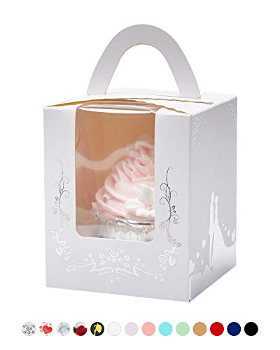 Yotruth Bride and Bridegroom Wedding Cupcake Boxes with Cake White and Silver Stamping for Wedding Favors 50 Sets (Choice Series)
