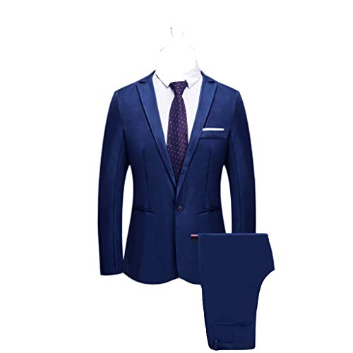 Realdo Mens 2 Pieces Suit,Mens Slim Fit One Button Business Wedding Banquet Blazer & -