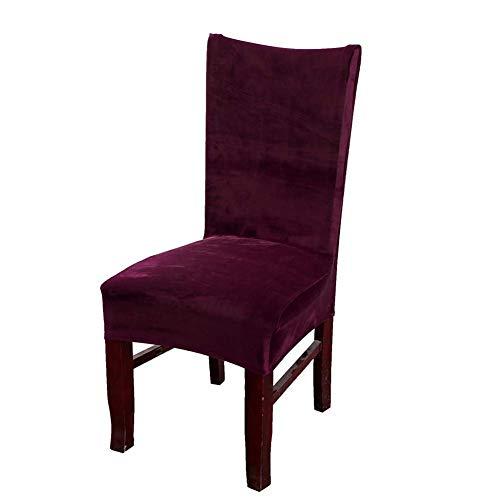 Velvet Dinning Room Stretch Chair Covers High Back Decor Dining Seat Slipcovers Protectors, Armless, Burgundy Set of 4 (Slipcover Burgundy)