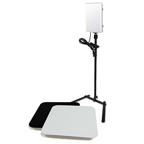 LS Photography LED Light Panel with Gooseneck Extension Adapter and Acrylic Black & White Reflective Display Table Riser, Table Top Photo Video Lighting Kit, LGG765 by Lsphotography