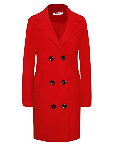 Women's Winter Classic Double Breasted Laple Long Wool Trench Coat Overcoat WS01 X-Large ()