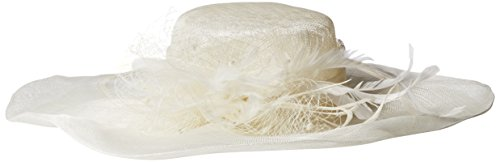 Scala Women's Solid Big Brim Sinamay Hat, Ivory, One Size