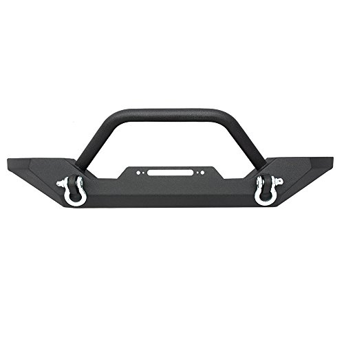 Yj Rock (LEDKINGDOMUS 87-06 Jeep Wrangler TJ/YJ Heavy Duty Rock Crawler Front Bumper with 2x D-ring & Winch Plate(Textured Black))