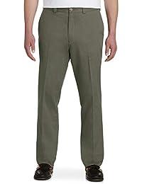 BIG AND TALL MEN CLASSIC FIT BLACK FLAT FRONT DRESS PANTS-SIZES-46