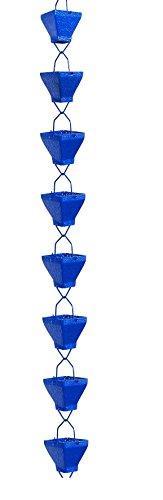 U-nitt 8-1/2 feet Rain Chain: Aluminum Square Cup Blue Embossed 8.5 ft Length #5517BLU by U-nitt (Image #2)