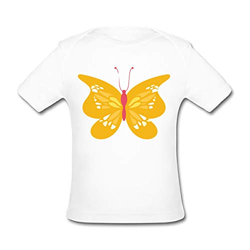 - BrowneOLp Infant Tee Butterfly Baby Organic Short Sleeve T-Shirt 9 Months White