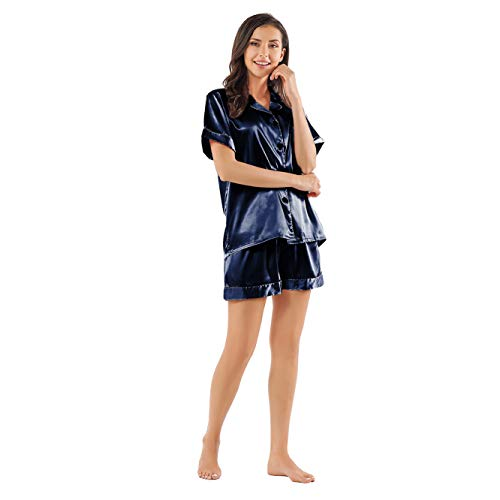 Ladieshow Women Pajamas Satin Ladies Pj Set Long Sleeve Sleepwear Two Piece Set (2XL, Short-blue)