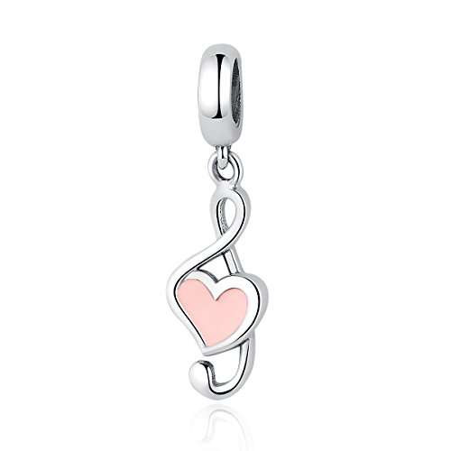 (The Kiss I Love Music Piano Violin Guitar 925 Sterling Silver Bead Fits European Charm Bracelet (Flower Blossom) (Music Note Pink Enamel)