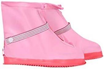 XHYRB 防水靴カバー、ファッション防水靴カバー、女性のメンズ防雨雪のブーツ、靴カバー、太い靴底、ノンスリップブーツ3色のオプション 防水靴、防雨カバー、長靴 (Color : Pink, Size : XL)