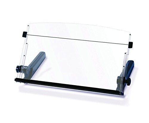 3M Adjustable Document Copy Holder, In-line with Monitor Minimizing Head and Neck Movement, 300 Sheet Capacity Holds Sheets to Books, Elastic Line Guide Keeps Pages Open, 18'' Wide, Black (DH640) by 3M