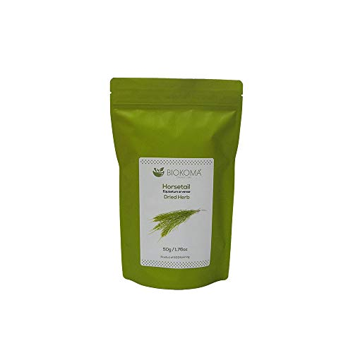 100% Pure and Organic Biokoma Horsetail Dried Leaves 50g (1.76oz) in Resealable Moisture Proof Pouch ()
