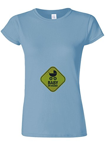 Baby On Board Pregnant Surprise Novelty Light Blue Women T Shirt Top-S