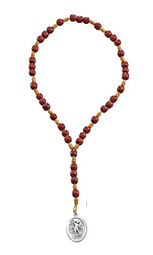 Saint St Michael Chaplet Rosary with Cherry Wood Beads and Medal, 10 Inch