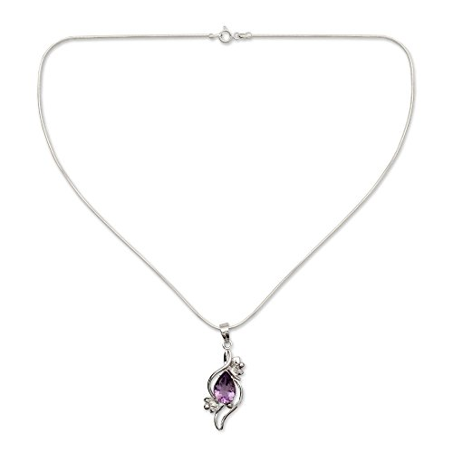 NOVICA .925 Sterling Silver Amethyst Flower Necklace, 15.75,