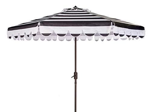 Safavieh PAT8011D Outdoor Collection Maui Black and White Single Scallop Striped 9Ft Crank Push Button Tilt Umbrella