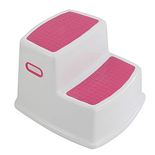 Wide+ 2 Step Stool for Kids | Toddler Stool for Toilet Potty Training | Slip Resistant Soft Grip for Safety as Bathroom Potty Stool and Kitchen Step Stool | Dual Height & Extra Wide Two Step