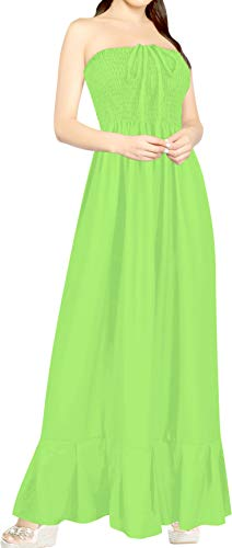 (LA LEELA Rayon Solid Party Swimsuit Tube Tube Dresses Parrot Green 2098 One Size)