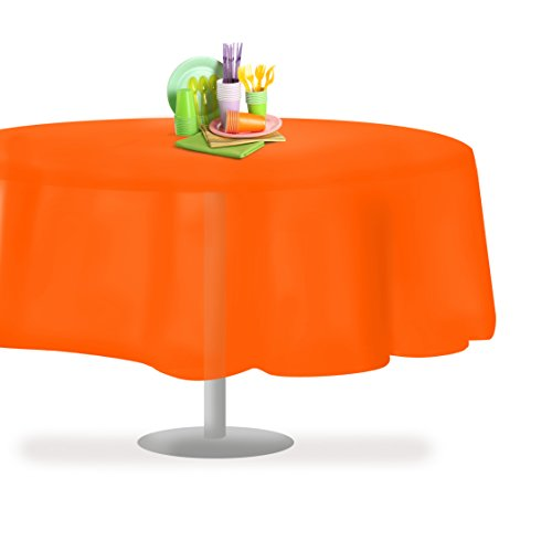(Orange 6 Pack Premium Disposable Plastic Tablecloth 84