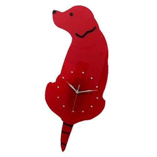 Homyl Cartoon Cat Dog Acrylic Wall Clock Mute Wagging Tail Swing Decorative Wall Clock, 10 Designs - Red Dog