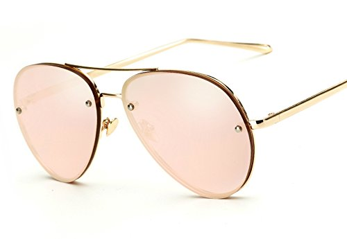 Oversized Aviator Sunglasses Vintage Retro Gold Metal Frame Colorful Lenses 62mm (Pink Reflective, 62mm)