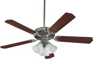 (Quorum International 7752516652 Capri VI 52-Inch 3 Light Ceiling Fan, Satin Nickel Finish with Alabaster Glass Light Kit and Reversible Blades)