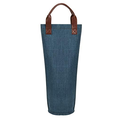 Tirrinia Single Wine Tote Bag, Insulated Padded Thermal Wine Bottle Carrying Cooler Carrier for Travel, Picnic, Perfect Gift for Wine Lover, Blue