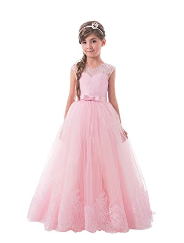 Lilis Lovely Princess Tulle Lace Appliques Flower Girls Dresses Sleeveless Pageant Gowns by Lilis