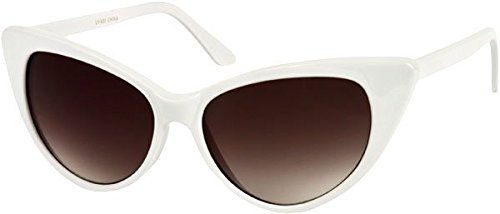 Sunglass Warehouse Victoria #1272 White Frame with Smoke Lenses Womens Cat Eye - Frames Warehouse