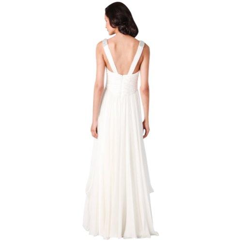 bodenlangen Sexy Abendkleid Ausschnitt GEORGE V Chiffon Weiß BRIDE wCq1wFX