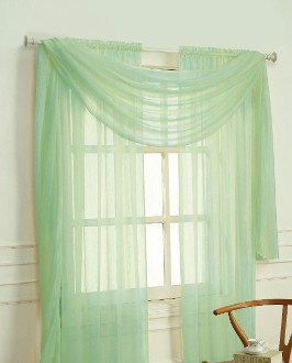 Empire Home Solid Jade Green Sheer Voile Scarf Valance 216