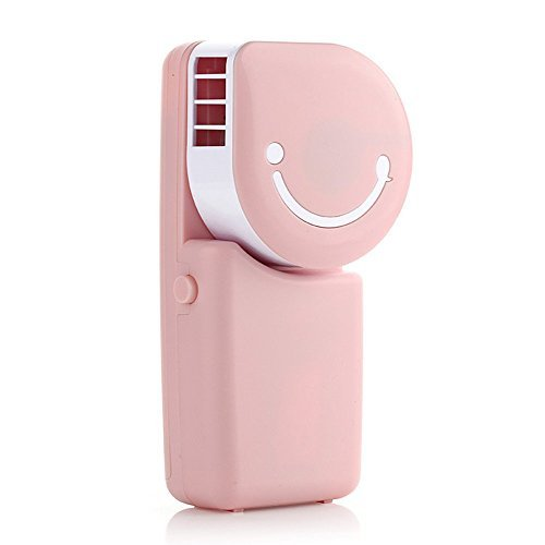 Tofern Cool Compact Air Conditioner Shape USB Rechargeable Battery Operated Cooling Handy Mini Fan For Office Home Travel Outdoor, pink by Tofern