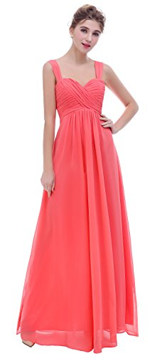 esvor Straps Sweetheart Long Formal Prom Gowns Bridesmaid Dress Coral 10 (Sweetheart Ruched Dress)