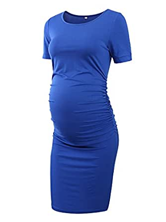 Women's Ruched Maternity Bodycon Dress Mama Causual Short Sleeve Wrap Dresses (S, Blue)