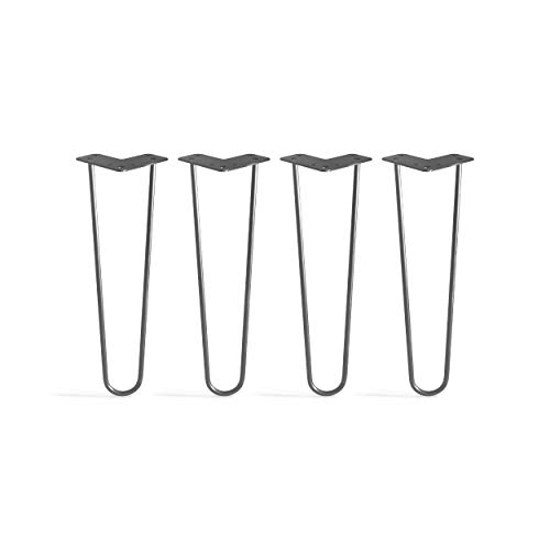 TEN49 Heavy Duty Hairpin Table Legs 16 inches / Industrial / Set of 4 Table Legs / Simple Installation / DIY / Raw Steel