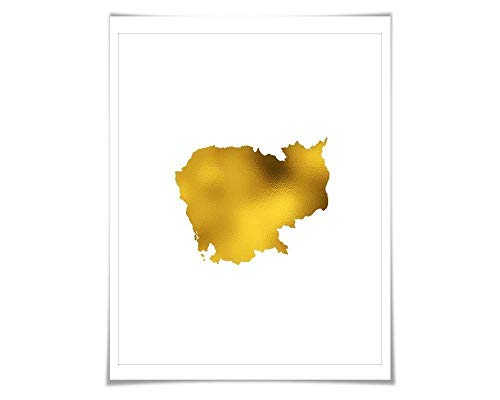 Cambodia Map Gold Foil Art Print. 7 Foil Colours/3 Sizes. Travel Poster. Country Map Wall Art