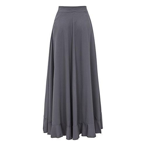 Long Cravate Gris Femme Jambe Fendue Volant Taille Large Haute Mode Plaine Pantalon Jupe xB4qv
