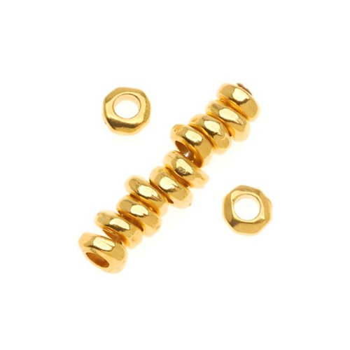 Spacers Heishe (22K Gold Plated Pewter Nugget Heishe Spacer Beads 5mm (12))