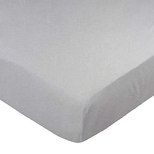 SheetWorld Fitted Sheet, Silver Grey, 100% Cotton Jersey, Fits BabyBjorn Travel Crib Light Mattress 24 x 42