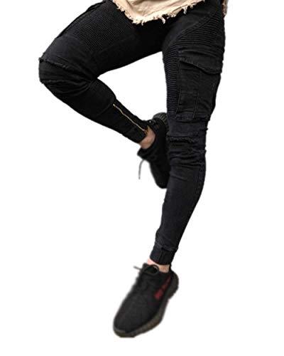 Slim Con Cargo Multi Vintage Estilo Fit Nero Da tasca Uomo Pantaloni Jeans Pants Stretch Denim Especial Fw7Xzvqx