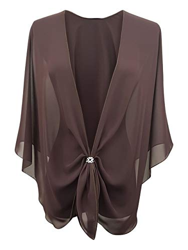 eXcaped Women's Evening Shawl Wrap Sheer Chiffon Open Front Cape and Silver Scarf Ring (Chocolate)
