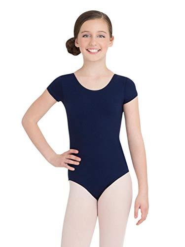 Capezio Big Girls' Classic Short Sleeve Leotard,Navy,L (12-14) by Capezio (Image #1)