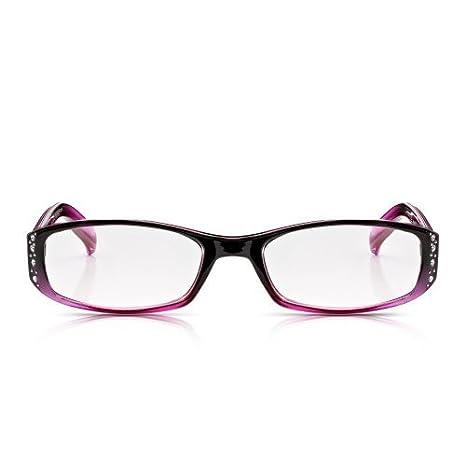 Read Optics: Occhiali da Donna in Viola Chic e Rosa Blush Con Strass Brillantini Leggeri e Resistenti Lenti per Presbiopia da +2.00 Diottrie