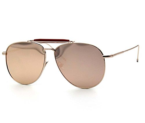 Tou che Polarized sunglasses classic aviator glasses (Golden red color, - Aviator Colour Golden