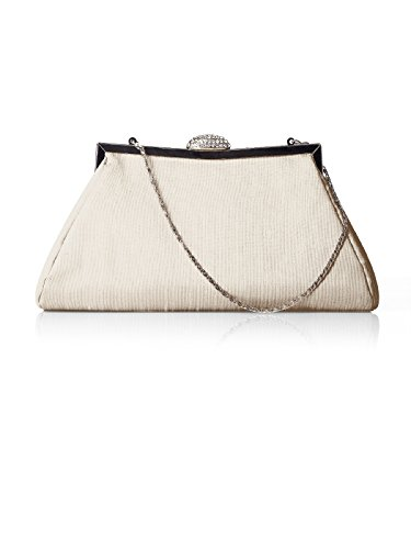 Dessy Women's Trapezoid Clutch w/ Jeweled Clasp and Optional Silver Chain Handle - Champagne