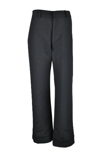 Katie Holmes & Yang Womens Black Cuffed Leather Trim Silk Trouser Pants - & Yang Holmes